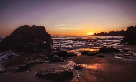 Sunset, Beach, Sun Sky, Sun, Sea, Sky, Lying, Sand