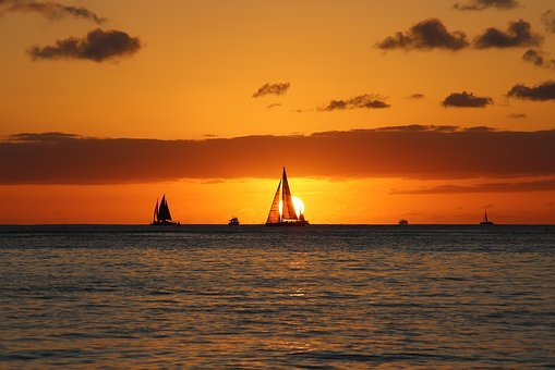 Hawaii, Sailing Boat, Sunset, Beach, Sea, Summer, Ocean
