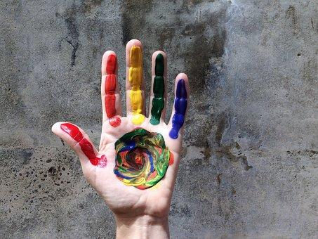 Hand, Rainbow, Color, Love, Lgbt, Paint, Gay, Pride