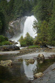 Waterfall, British Columbia, Park, Canada, Forest
