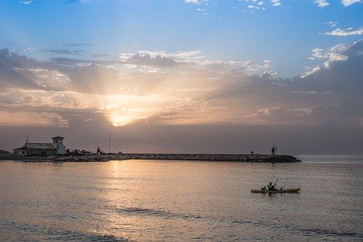 Dawn, Beach, Sea, Sky, Blue, Fishing, Kayak, Sun