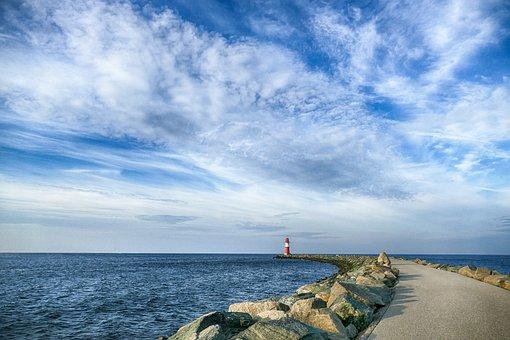 Sky, Clouds, Port, Mole, Stones, Rock, Sea, Ocean