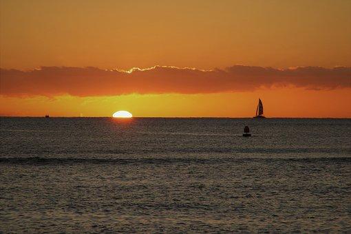 Hawaii, Beach, Sunset, Sailing, Ocean, Sea, Travel