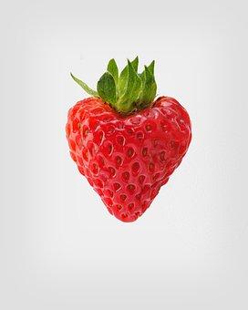 Strawberry In Heart Shape, Sweet Strawberry