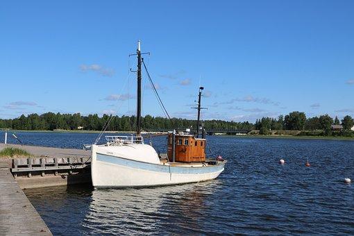 Finnish, Oak Island, Port, Summer, Tourism, Trawler