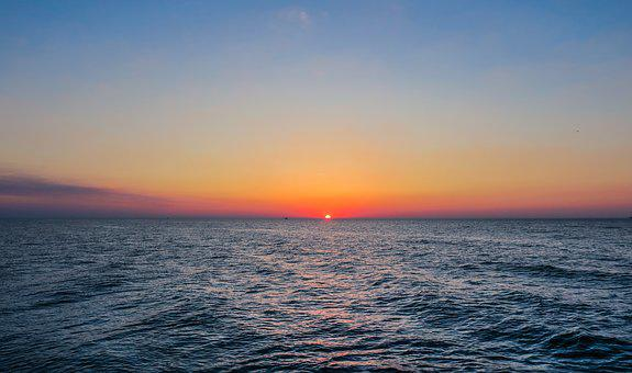 Sunset, Sea, Ocean, Baltic Sea, Evening, Sun, Water