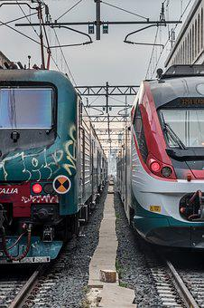Trains, Graffiti, Vias, Italy, Rome, Technology