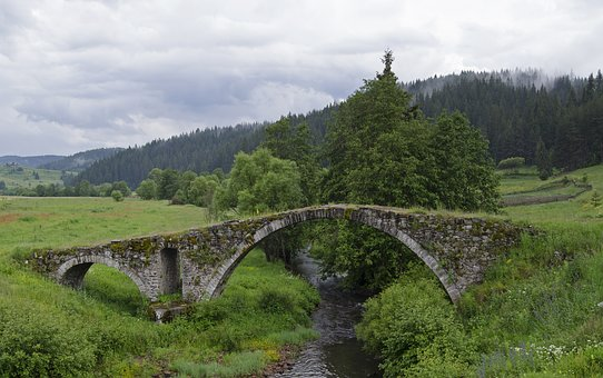 Bridge, Stone, Arched, Arches, Old, Landscape, Water