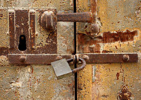 Old, Door, Metal, Padlock, Malta, Vintage, Wood