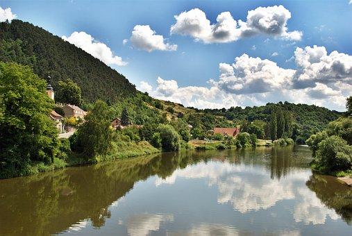 Czech Republic, Landscape, River, Blue Sky, Reflection