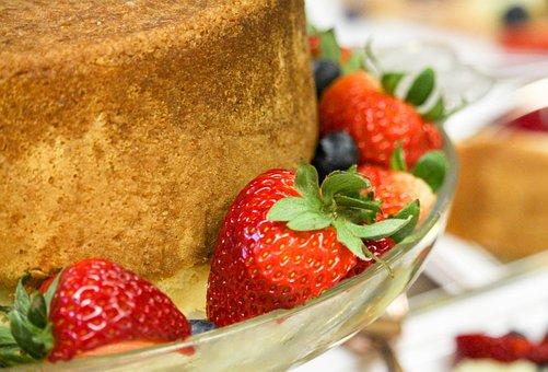 Cake, Blueberry, Strawberry, Fork, Bunted