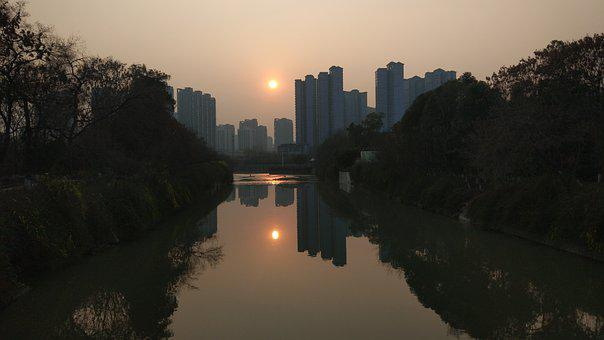 Chengdu, The Government South Of The River, Sunset