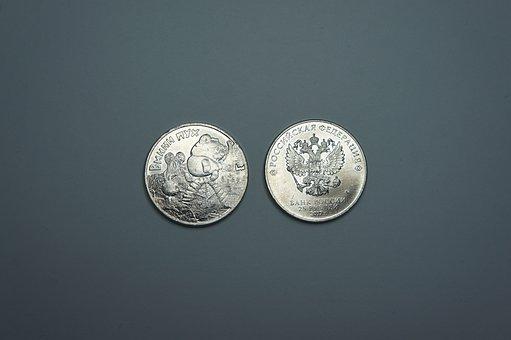 Russian, Ruble, Money, Coin, Winnie The Pooh, Cartoon