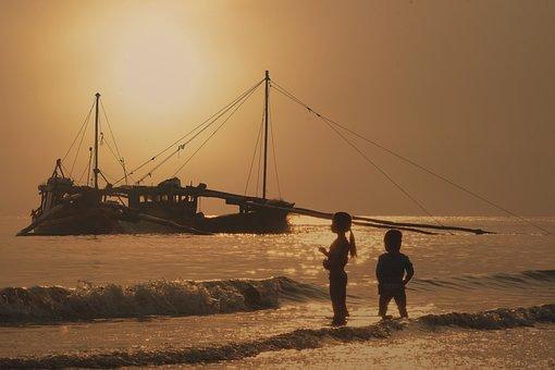 Ocean, Dawn, Boat, Sea, Sunset, Sun, Beach, Summer