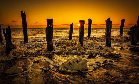 Beach, Coast, Dawn, East, East Yorkshire, Groynes