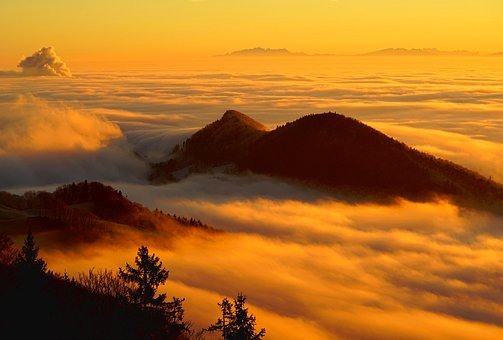 Fog, Clouds, Sea Of Fog, Mountain, Landscape, Homberg
