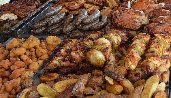 Food, Meat, Feast, Grilled, Lunch, Grill, Toasting