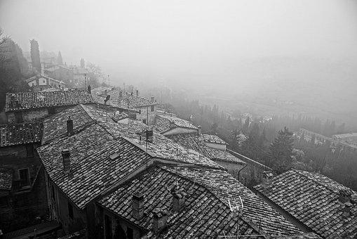 Montepulciano, Roofs, Fog, Tuscany, Houses