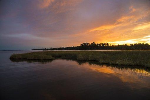 Sunset, Bayou, Florida, Marsh, Sky, Peaceful, Landscape