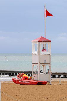 Lifeboat Station, Lifeguard On Duty, Holiday, Italy