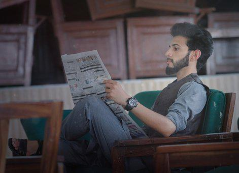 Indoors, Man, Lifestyle, Young, Portrait, Newspaper