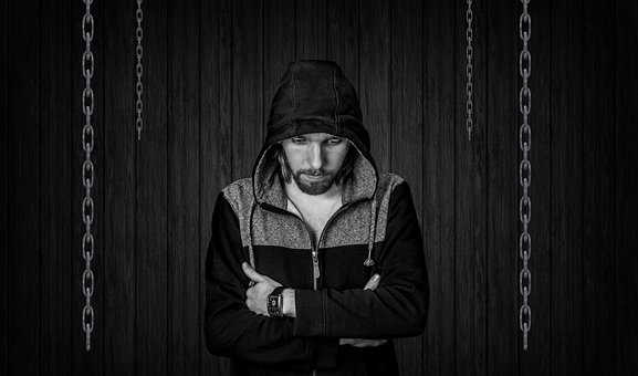 Chains, Chain, Worried, Man, Male, Hooded, Hoodie