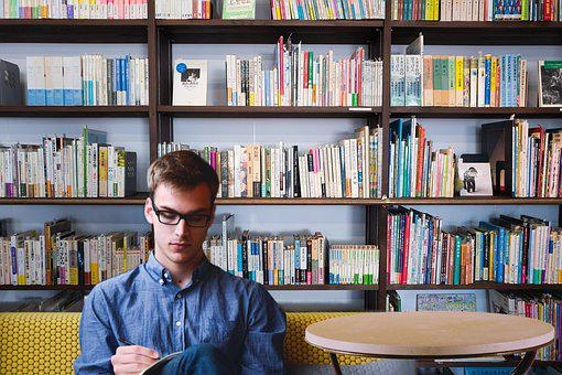 Library, Entrepreneur, Startup, Start-up, Man, Planing