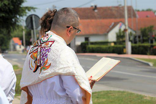 Corpus Christi Feast, Priest Reading, Procession