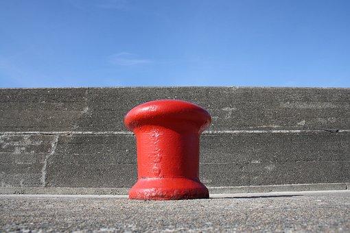 Port, Bollard, Red, Quay Wall, Fix, Dock