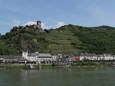 Rhine, Kaub, Castle, Good Rock, Vineyard, Romantic