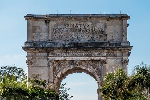 Rome, Door, Gantry, Input, Senate, People, Old, Stone