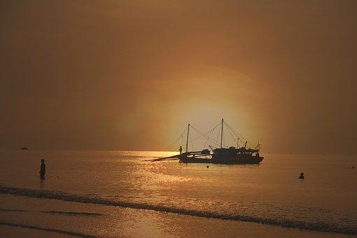 Sea, Ocean, Dawn, Beach, Blue, Seascape, Landscape