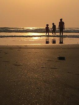 Sea, Beach, Kids, Mother, Summer, Vacation, Child