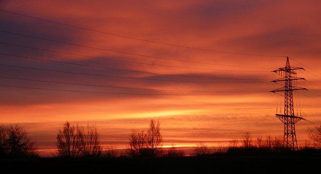 Morgenrot, Red, Sky, Dawn, Skies, Morgenstimmung, Mood