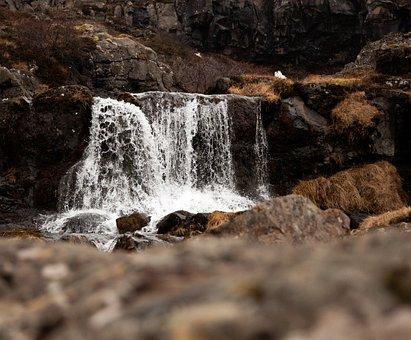 Small Waterfall, Stream, Droplets, Nature, Rocks