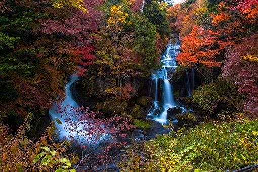 Ryuzu Waterfall, Sunlight, Autumn, Waterfall