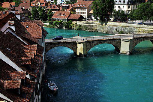Bern, Switzerland, View, Panorama, Bridge, Townhouses