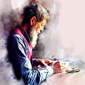 Watercolor, Old, Man, Art, Artistic, Author, Writing
