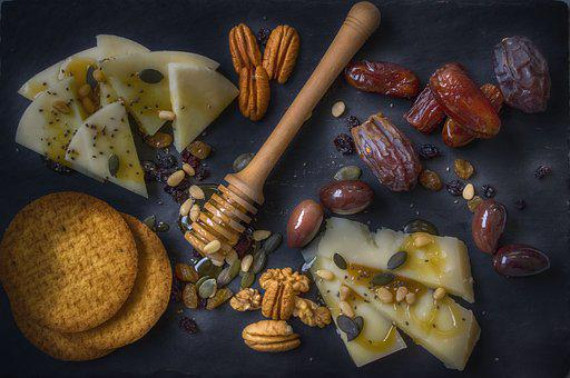Food Platter, Cheese, Honey, Snack, Appetizer, Bread