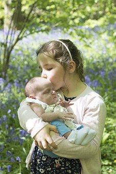 Sisters, Baby, Love, Newborn, Kiss, Girl, Family, Child