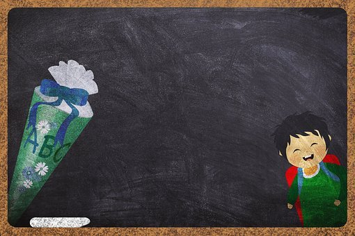 Schultüte, Students, Board, Background Image, Chalk