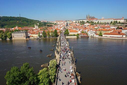 Bridge, Prague, Czechia, River, Cityscape, City, Castle
