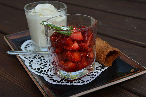 Dine, Dessert, Strawberries, Ice Cream, Glasses