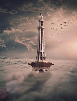 Digitalart, Tower, Clouds, Fantasy, Architecture