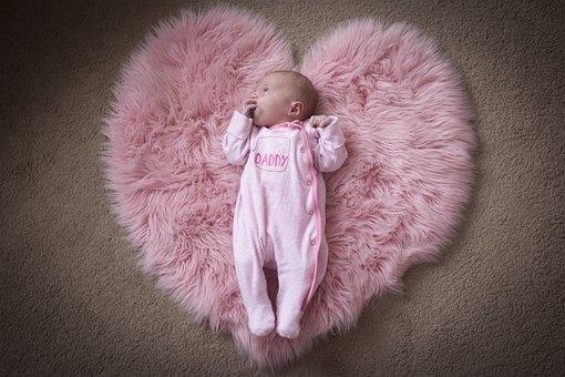 Baby, Heart, Daddy, Love, Newborn, Pink, Girl, Family