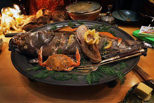 Fish, Platter, Dish, Crab, Fork, Feast, Seafood, Meal