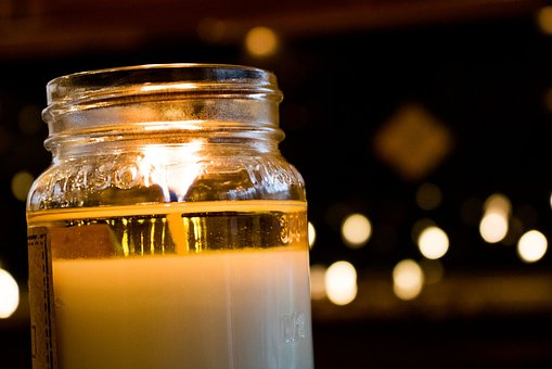 Candle, Fire, Flame, Glass, Bokeh, Light, Celebration