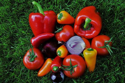 Paprika, Vegetables, Red, Fresh, Food, Sweet Peppers