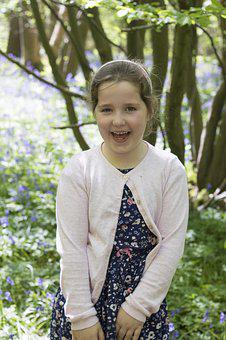 Girl, Outside, Bluebells, Kid, Smiling, Laughing, Young