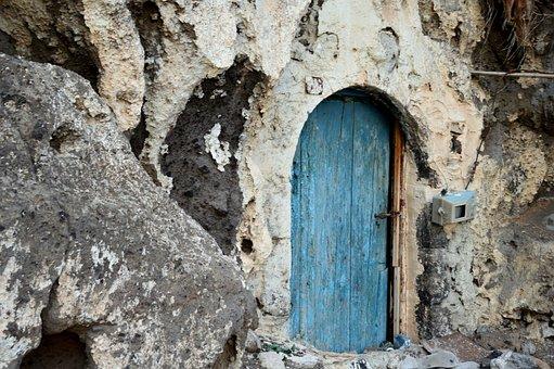 Santorini, White, Blue, Door, Greece, Break Up
